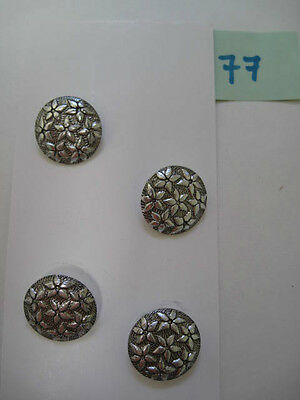 vintage retro metal buttons with flower design