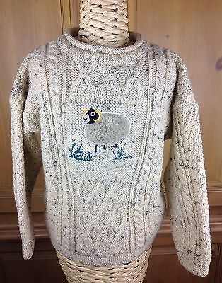 Inisfree Childrens Cream Chunky Pure Wool Sweater Sheep Made In Ireland Size 6/7