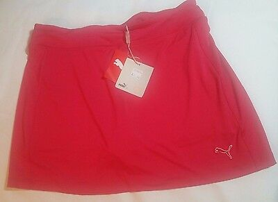 PUMA New Size SMALL Junior Solid knit Polyester Rose Red Golf Skort $55