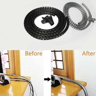 2M Portable Cable Cord Tidy PC Wire Organising Tool Kit Spiral Wrap Home Office