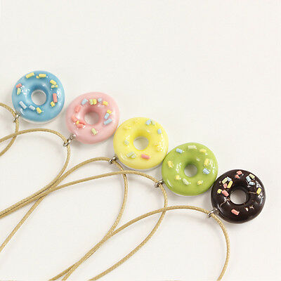 Cute Doughnut Ceramic Pendant Necklace Ceramic Sweet Gifts for women Girl