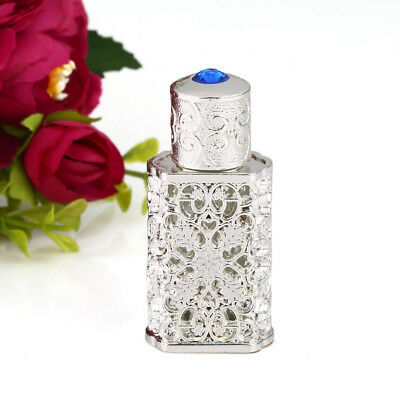 Vintage Silver Empty Refillable Crystal Glass Perfume Bottle Stopper Lady Gift