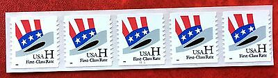 1998 US Stamps 33c H Hat Strip of 5 with Plate#1111 SC#3266 CV:14