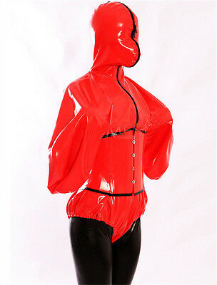 Latex Rubber Catsuit Hood Red and Black Bodysuit Fashion Suit Sizes XS-XXL