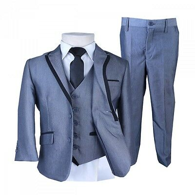 Boys Black Piping Silver Suit Pageboy Suits Kids Suits Children Dark Silver Suit