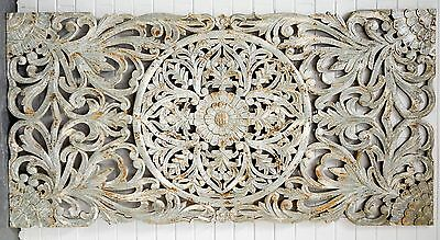 Hand Carved Solid Timber Queen Size Bedhead Wall Panel Wall Art Floral