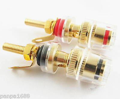 2pcs Copper Gold Audio Speaker 4mm Banana Jack Long Thread Small Binding Post