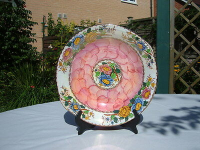 """Maling Peony Rose Hand Painted Shallow Dish - 7.1/2"""" Diameter - Exc. Cond."""