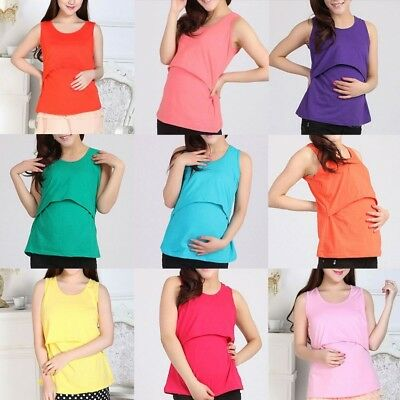 Women Pregnant Maternity Clothes Nursing Tops Mom Breastfeeding Vest T-Shirt Top