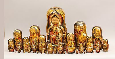 "Museum Quality Russian Icons Style 30 Nest. Doll ""holy Faces And Icons"" 19"""