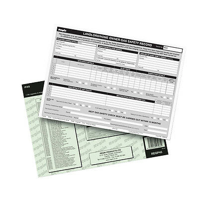 Regin Regp45 Landlord/homeowner Gas Safety Record Pad *new* *free Carriage*