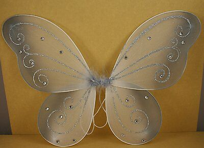 """Silver Butterfly Fairy Costume Wings 18"""" X 14"""""""