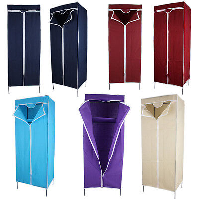 Single Fabric Canvas Wardrobe Clothes Cupboard Shelves with Hanging Rail 6 Color
