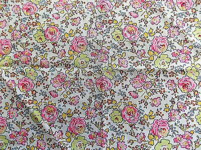 Immaculate White & Pink Floral Liberty Cotton Women's 28cm Square Handkerchief