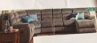 New Black Lounge With Sofa Bed + Chaise With Storage + End Recliner + Storage