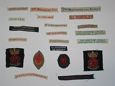 21 Old Winchester and District Scout Badges Worthies Itchen Abbas Hursley etc