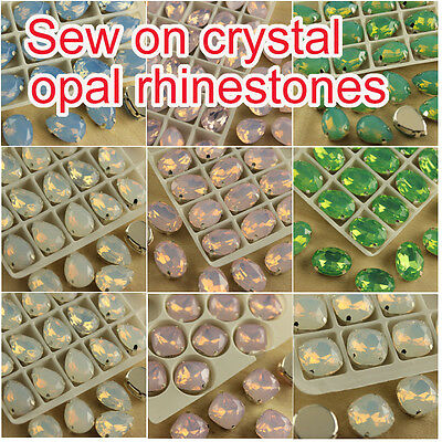 12PC Sew on glass Crystal opal color rhinestones teardrop/oval/square beads Y-PK