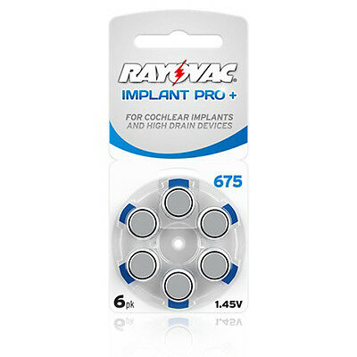 Rayovac Cochlear Implant Pro+ 675 Batteries x60 cells Expires March 2021
