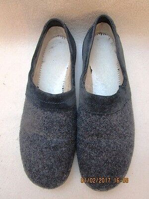 "Hotter ""Devotion"" Dark Grey Wool/Suede Slippers - Size 8"