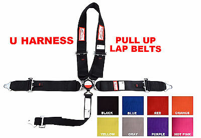 "U Racing Harness Sfi 16.1 5 Pt  Pull Up 3"" Cam Lock Belt Black Or Any Color"