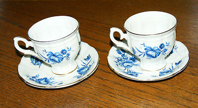 2 x Crown Staffordshire Bone China BLUE FLOWER Cup & Saucer Sets