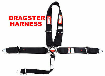 """Dragster U Racing Harness Sfi 16.1 5 Point  Pull Up Laps 3"""" Cam Lock Belt Black"""
