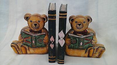 Vintage wooden bookends, with carved bears