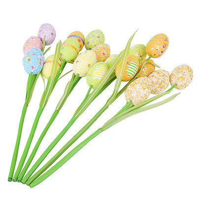 Easter Day Eggs Picks On Sticks Home Party Decor Hand Toy Color Random