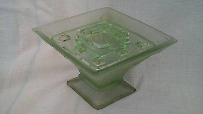 Bagley Spinette Art Deco frosted green glass vase with holder