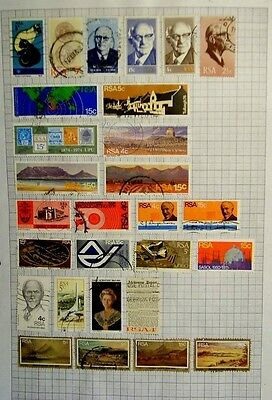 7 pages of South Africa used stamps.