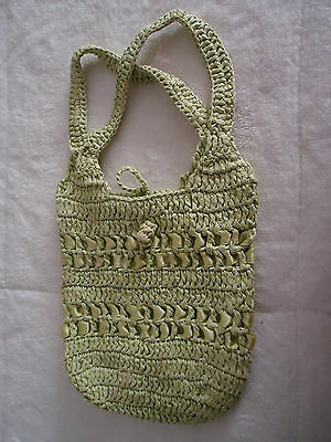 Little Girls Green Straw Small Tote Bag Cute