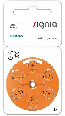 Siemens Size 13 Mercury Free Hearing Aid Batteries x60 cells (New Packaging)