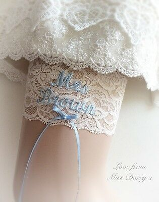 Bridal Garter Ivory Cream Blue Lace Personalised Miss Darcy Wedding Brides Hen