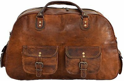 Mens Genuine Goat Leather Large Capacity Travel Luggage Bag Duffle Gym Bags Tote