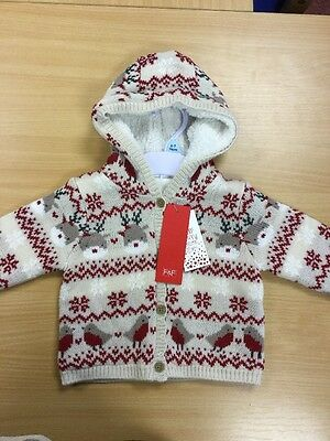 BNWT Baby's Xmas Hooded Cardigan 6-9 Months