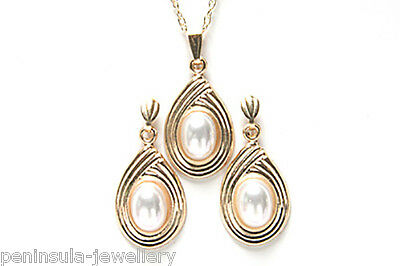 9ct Gold Pearl Pendant and Earring Set Gift Boxed Made in UK