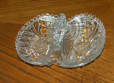 2 Section Handled Cut Glass Sweet/Candy Dish