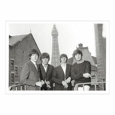 The Beatles In Blackpool - The Tower In Background  Monochrome Judges Postcard