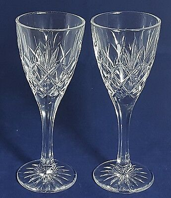 Beautiful Pair of High Quality Tall and Heavy Crystal Wine Glasses