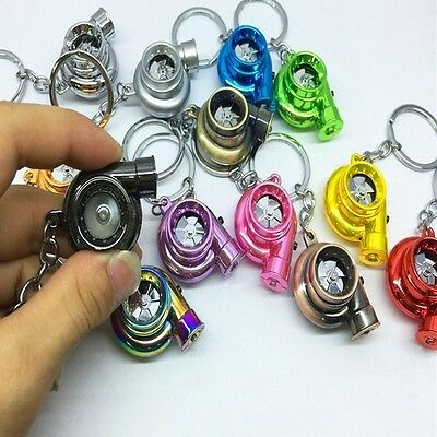 Car LED Turbo Keychain Sleeve Spinning Turbine Turbocharger Key Chain Keyfob