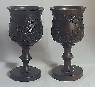 Beautiful Pair of Vintage Decorative  Solid Wooden Carved Goblets