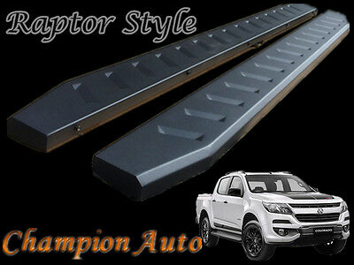 Holden Colorado Dual Cab Side Steps Black Powder Coated Steel 2017+ (Raptor)