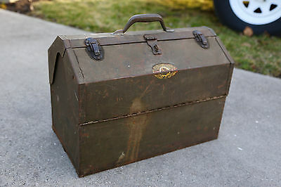 Vintage Simonsen Tool Fishing Tackle Box Machinist Large Cantilever Industrial