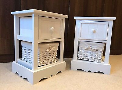 2 x White Bedside Tables With Wicker Storage Baskets Bedroom Furniture Cabinet