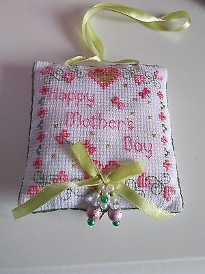 Completed Cross Stitch Decorative Hanging For  Mothers Day