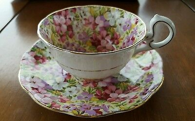 "Royal Standard Chintz ""Virginia Stock"" Cup & Saucer Fine Bone China England"