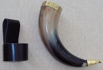 Decorative Viking Cow Horn With Brass Fittings, Re-enactment, Stage or LARP