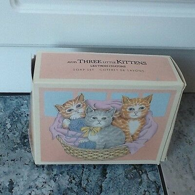 vintage avon three little kittens soap set