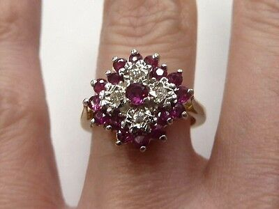 Vintage 9ct Gold Ruby & Diamond Cluster Ring  Size K  1982