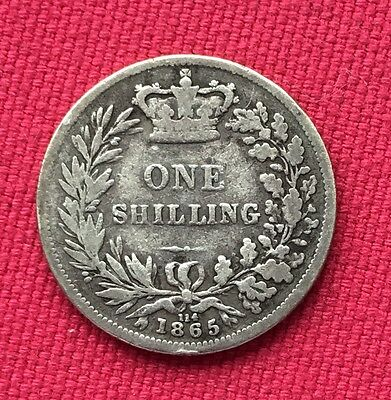 1865 Silver Victorian One Shilling Coin